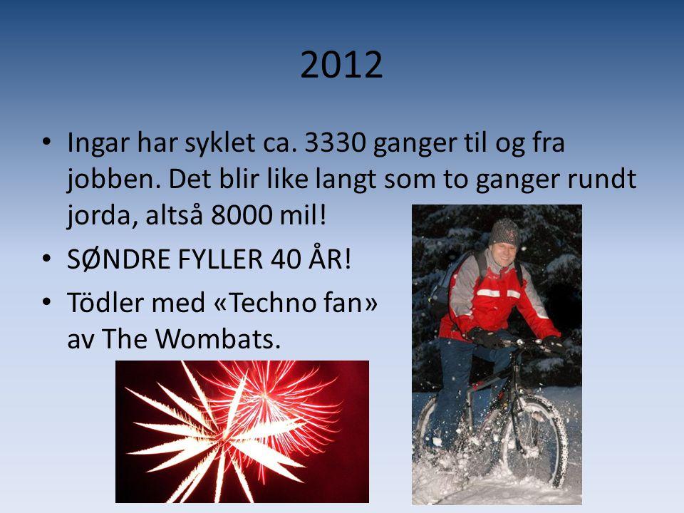 2012 Ingar har syklet ca. 3330 ganger til og fra jobben. Det blir like langt som to ganger rundt jorda, altså 8000 mil!