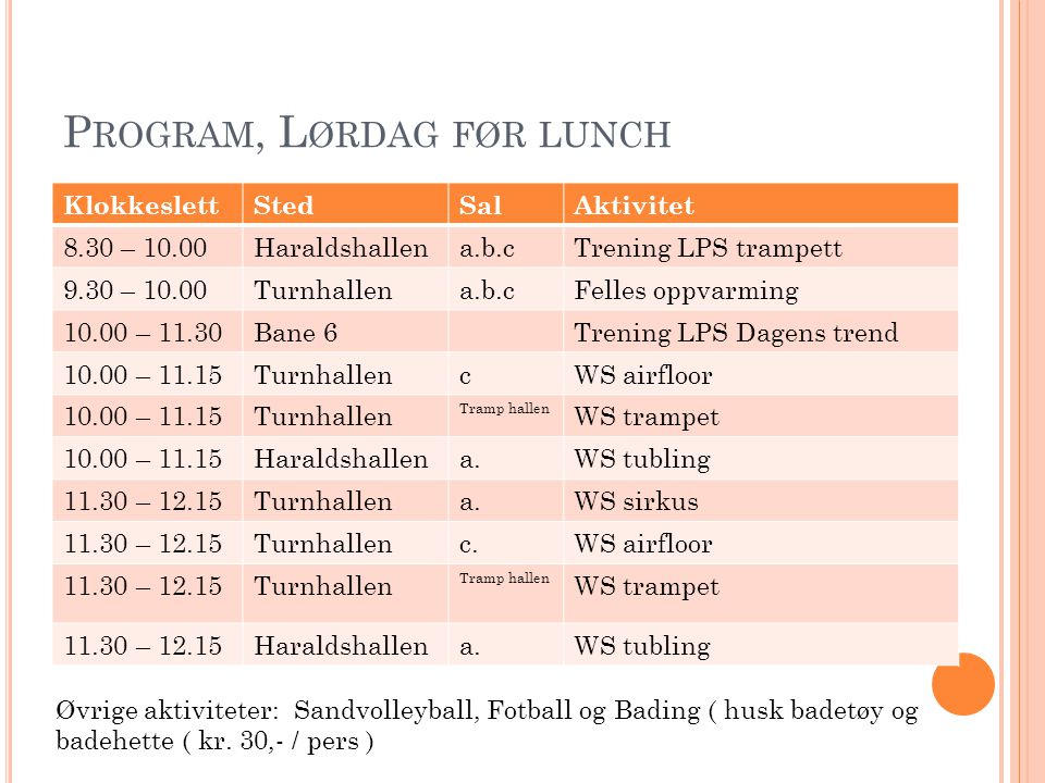 Program, Lørdag før lunch