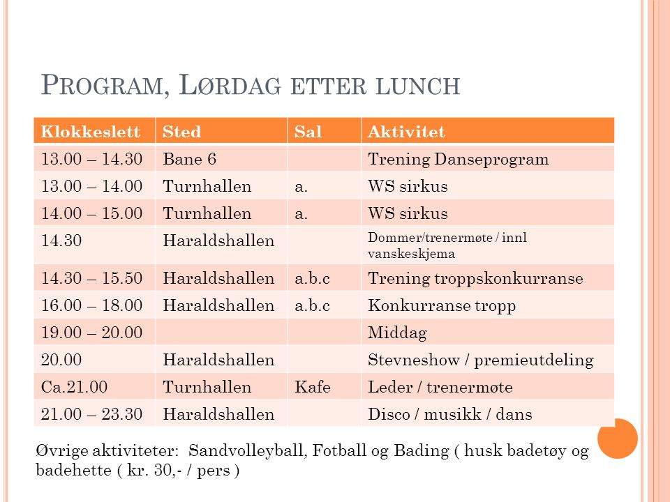Program, Lørdag etter lunch