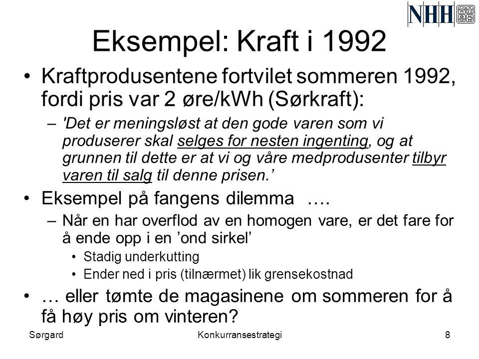 Eksempel: Kraft i 1992 Kraftprodusentene fortvilet sommeren 1992, fordi pris var 2 øre/kWh (Sørkraft):