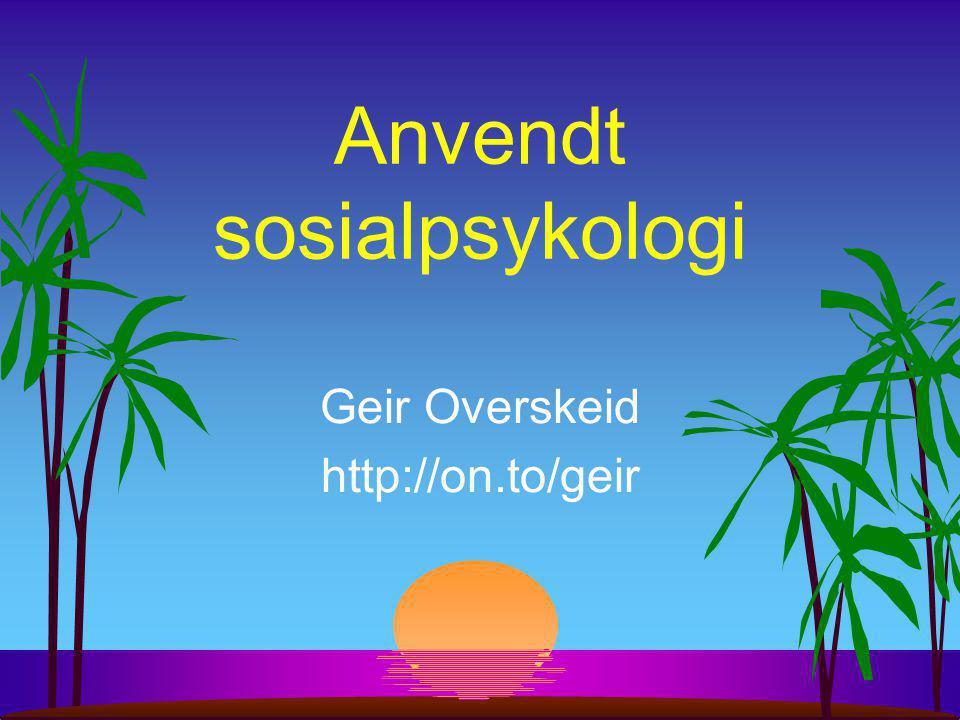 Anvendt sosialpsykologi