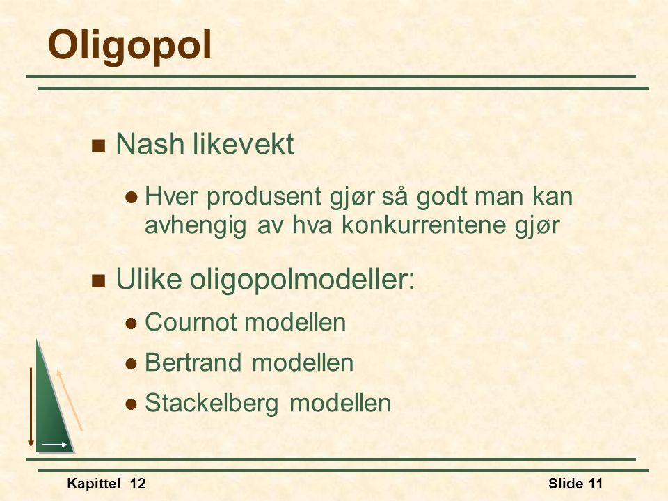 Oligopol Nash likevekt Ulike oligopolmodeller: