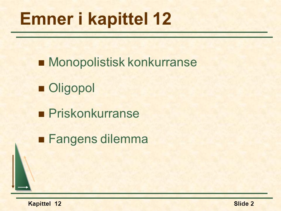 Emner i kapittel 12 Monopolistisk konkurranse Oligopol Priskonkurranse