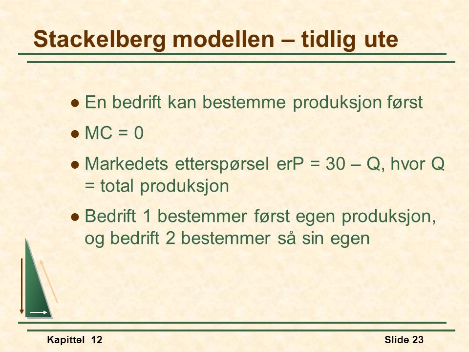 Stackelberg modellen – tidlig ute
