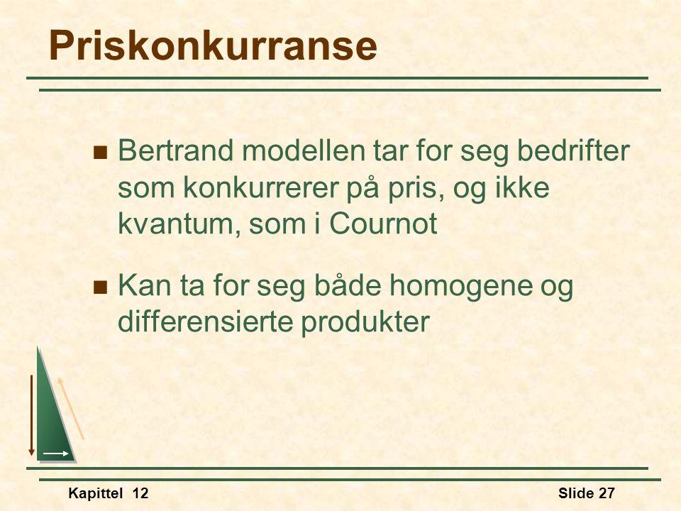 Priskonkurranse Bertrand modellen tar for seg bedrifter som konkurrerer på pris, og ikke kvantum, som i Cournot.