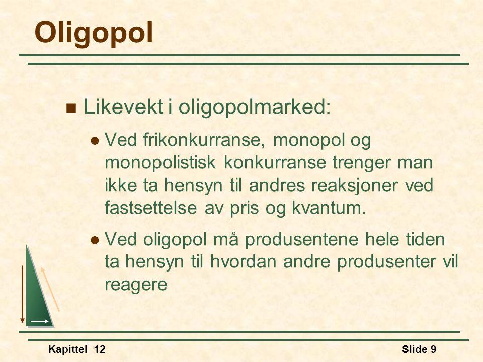 Oligopol Likevekt i oligopolmarked: