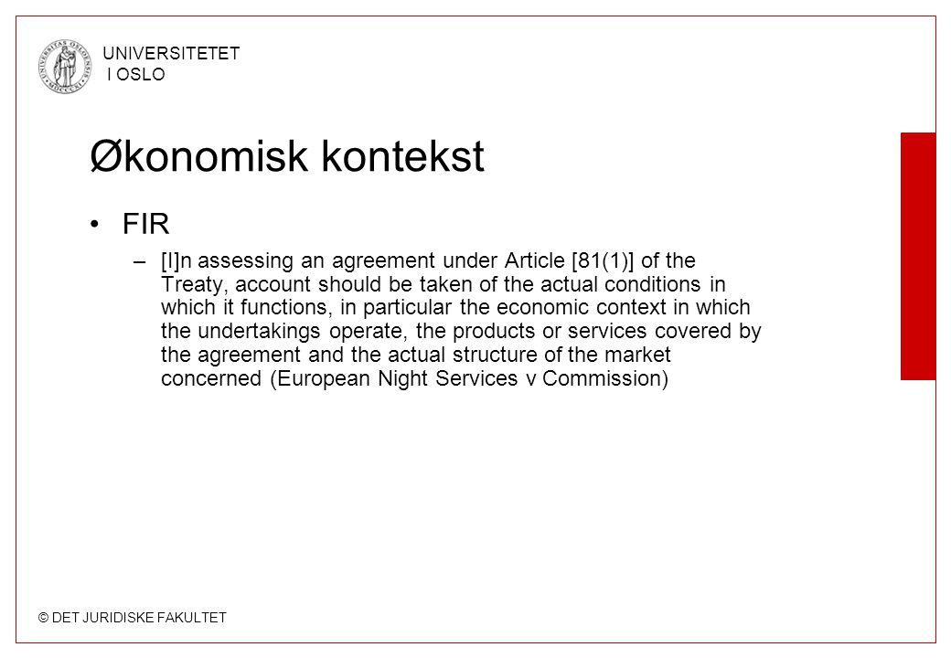 Økonomisk kontekst FIR