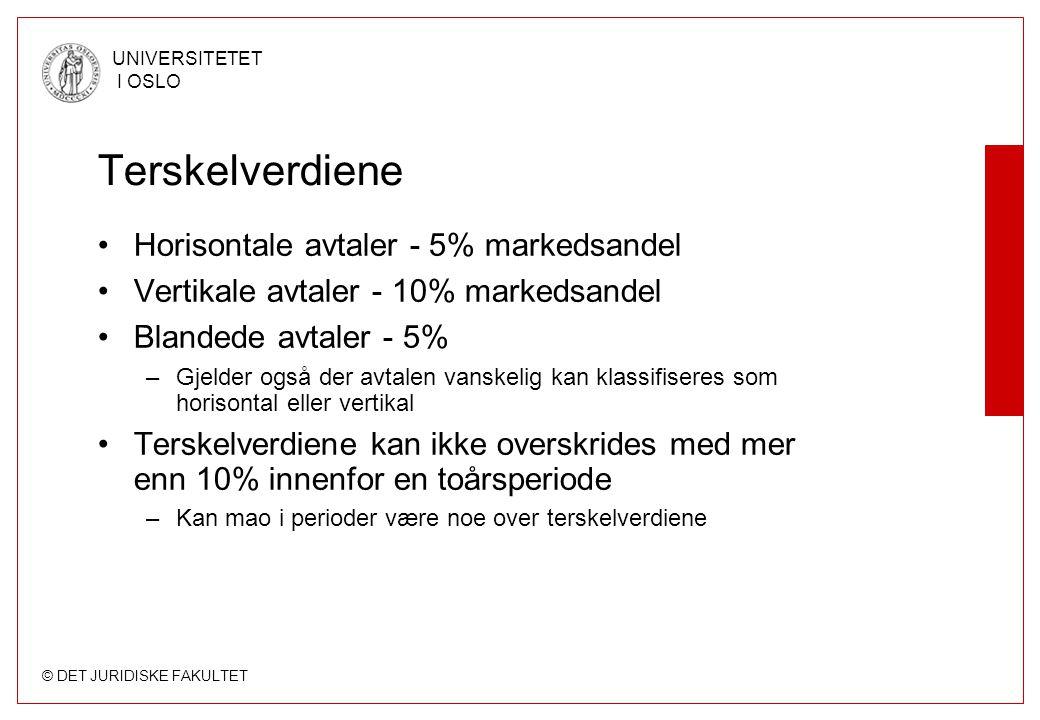 Terskelverdiene Horisontale avtaler - 5% markedsandel