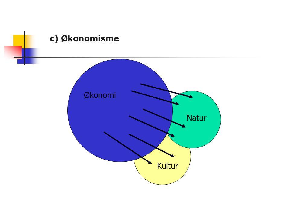 c) Økonomisme Økonomi Økonomi Natur Natur Kultur Kultur