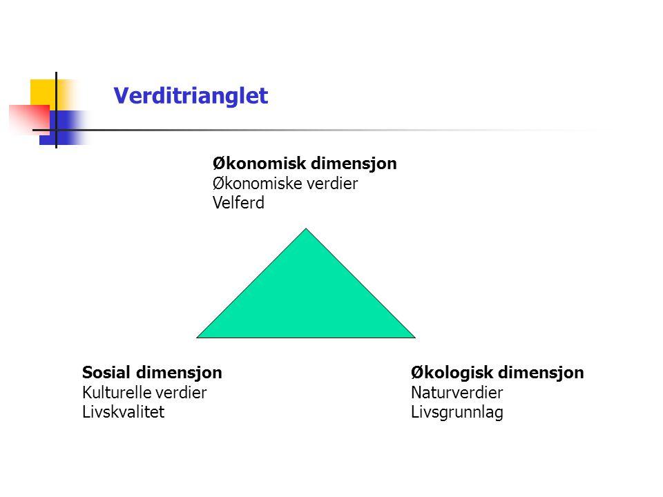 Verditrianglet Økonomisk dimensjon Økonomiske verdier Velferd