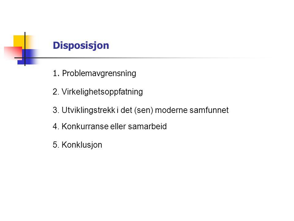 Disposisjon 1. Problemavgrensning 2. Virkelighetsoppfatning
