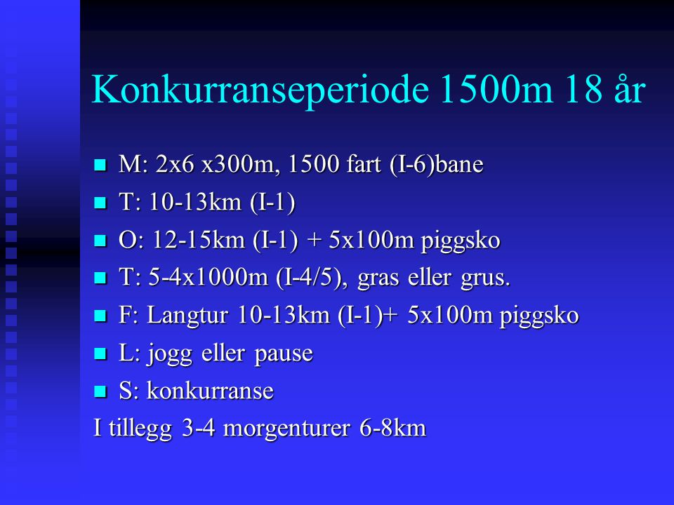 Konkurranseperiode 1500m 18 år