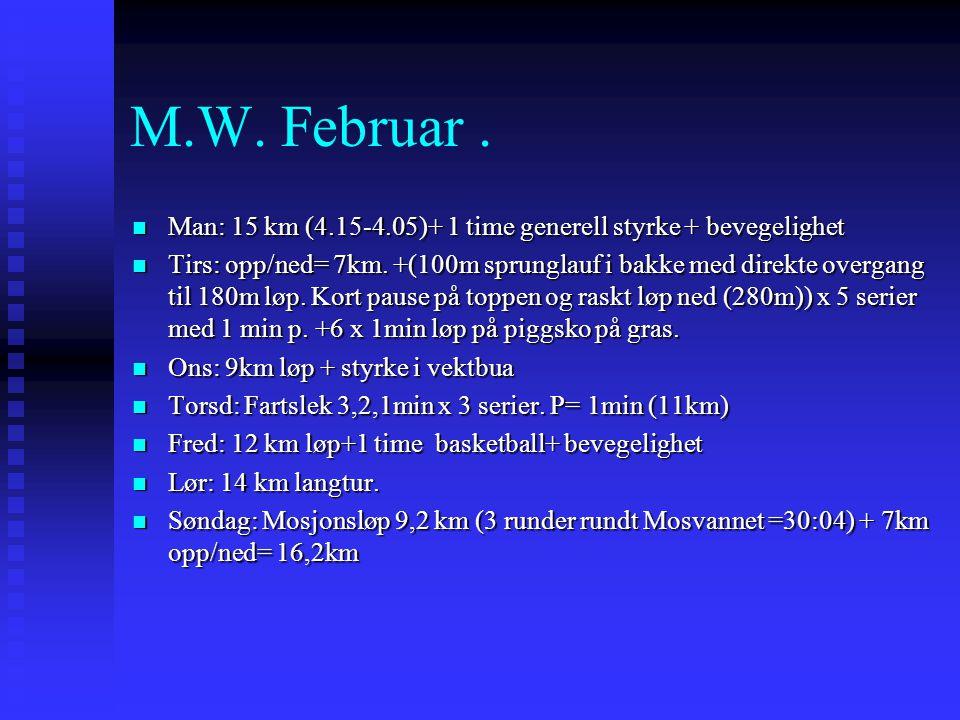 M.W. Februar . Man: 15 km (4.15-4.05)+ 1 time generell styrke + bevegelighet.