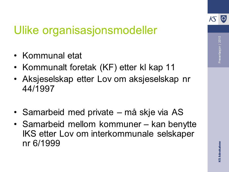 Ulike organisasjonsmodeller
