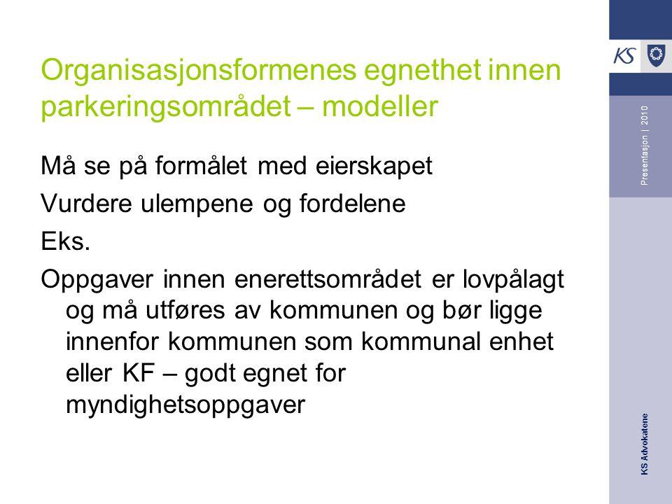 Organisasjonsformenes egnethet innen parkeringsområdet – modeller