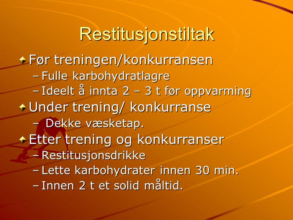 Restitusjonstiltak Før treningen/konkurransen