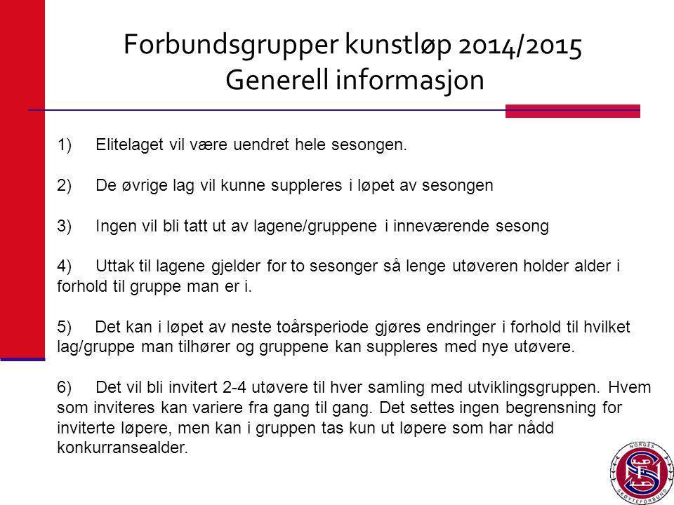 Forbundsgrupper kunstløp 2014/2015 Generell informasjon