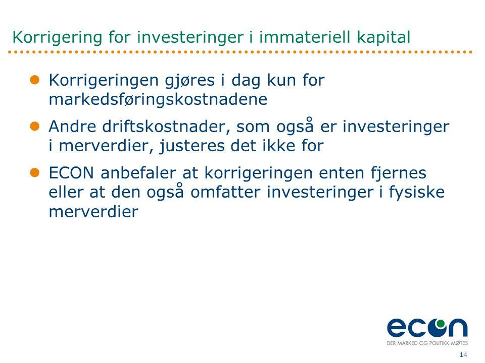 Korrigering for investeringer i immateriell kapital