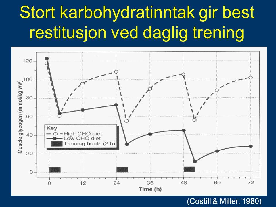 Stort karbohydratinntak gir best restitusjon ved daglig trening