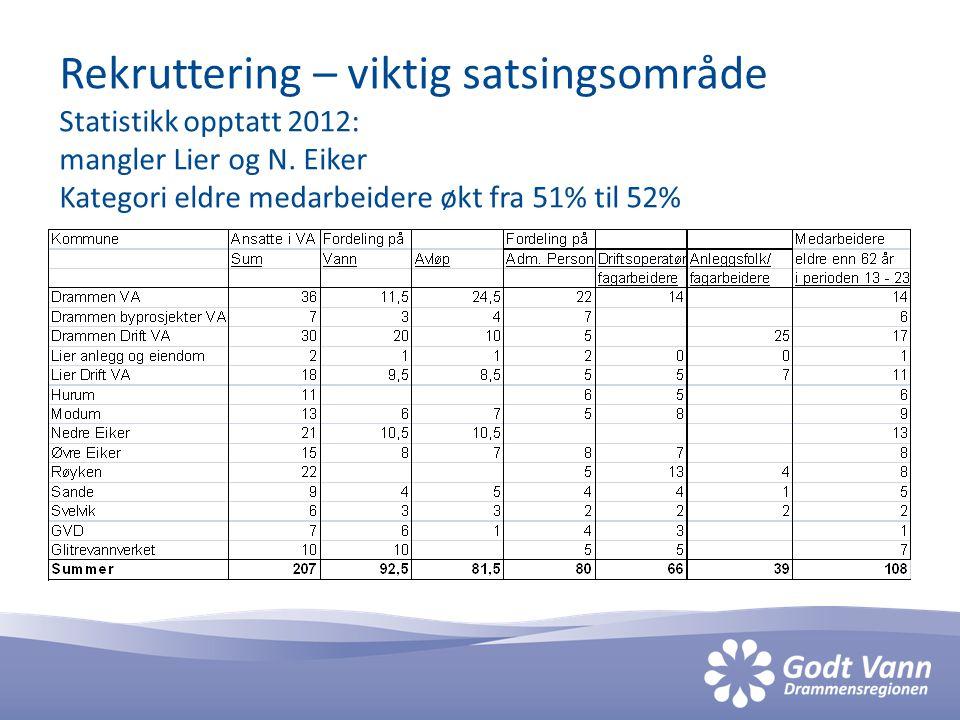 Rekruttering – viktig satsingsområde Statistikk opptatt 2012: mangler Lier og N.