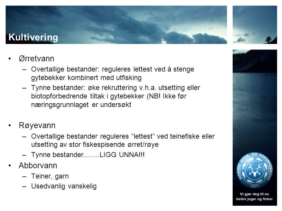 Kultivering Ørretvann Røyevann Abborvann
