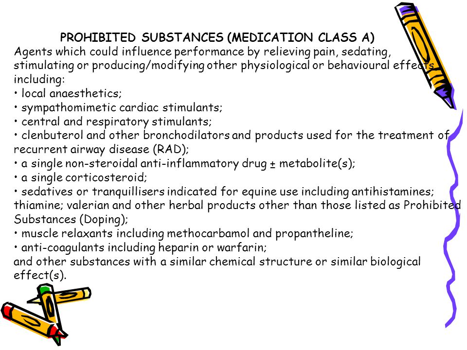 PROHIBITED SUBSTANCES (MEDICATION CLASS A)