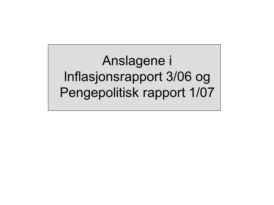Anslagene i Inflasjonsrapport 3/06 og Pengepolitisk rapport 1/07