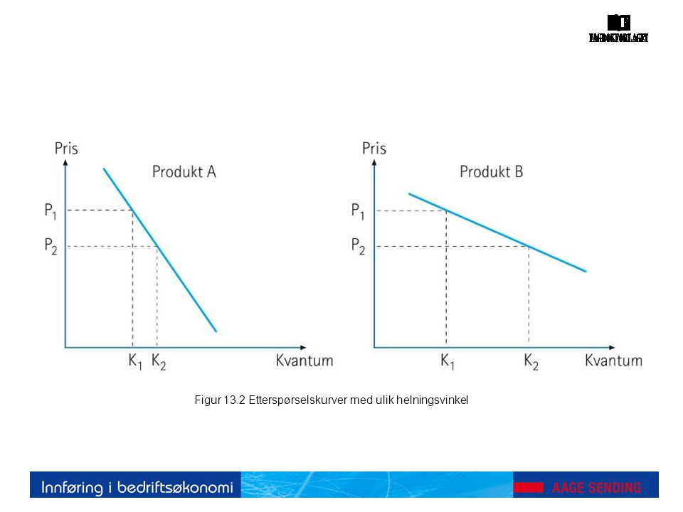 Figur 13.2 Etterspørselskurver med ulik helningsvinkel
