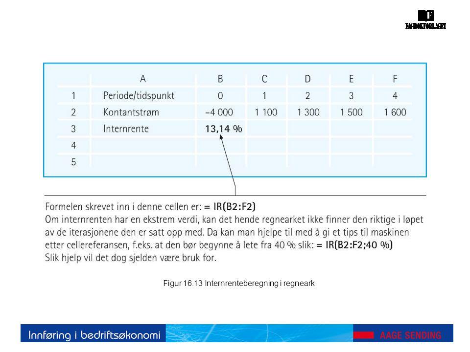 Figur 16.13 Internrenteberegning i regneark