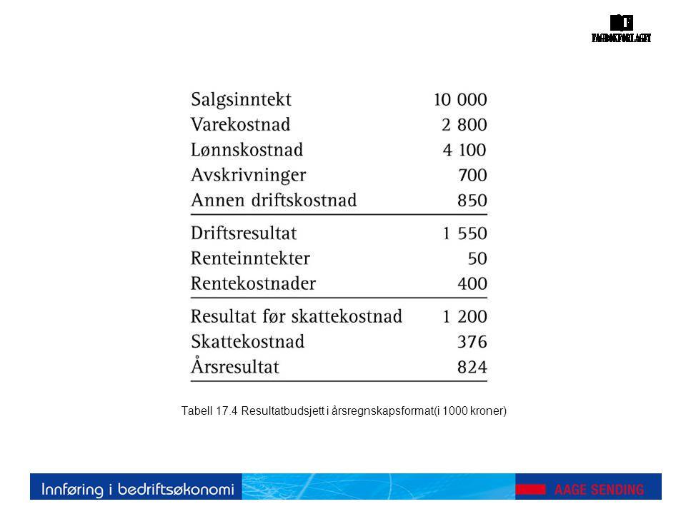 Tabell 17.4 Resultatbudsjett i årsregnskapsformat(i 1000 kroner)