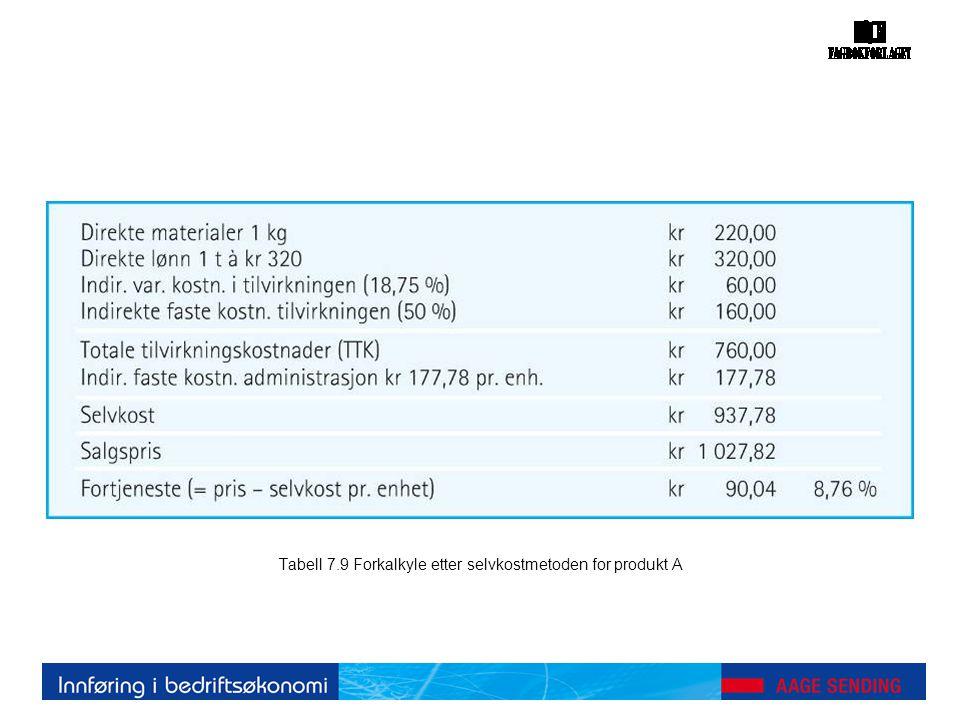 Tabell 7.9 Forkalkyle etter selvkostmetoden for produkt A