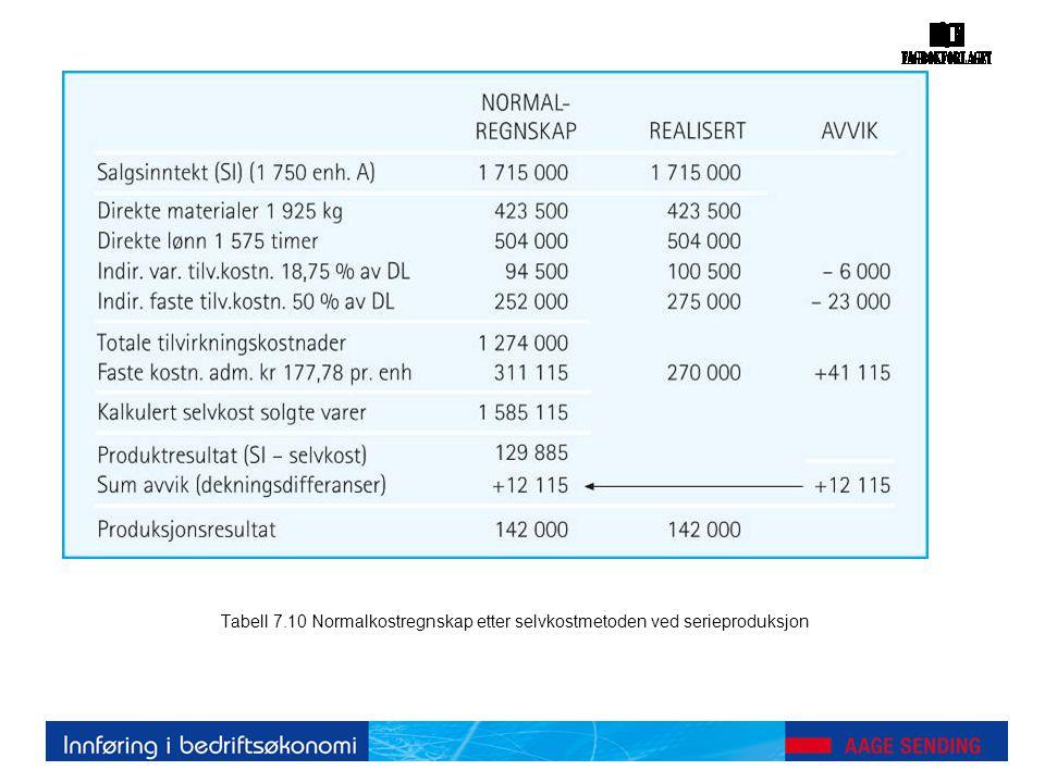 Tabell 7.10 Normalkostregnskap etter selvkostmetoden ved serieproduksjon