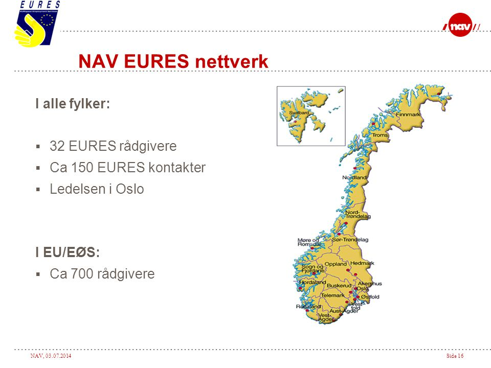 NAV EURES nettverk I alle fylker: 32 EURES rådgivere