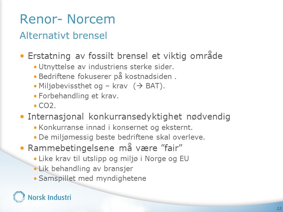 Renor- Norcem Alternativt brensel