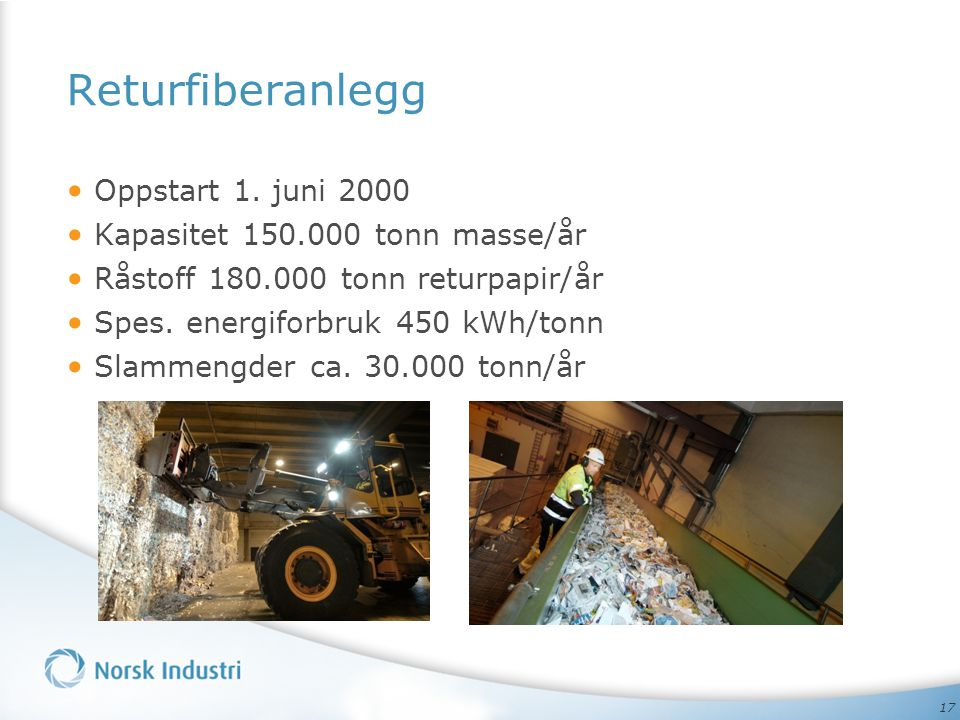 Returfiberanlegg Oppstart 1. juni 2000 Kapasitet 150.000 tonn masse/år