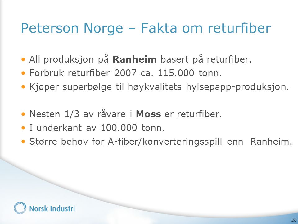 Peterson Norge – Fakta om returfiber