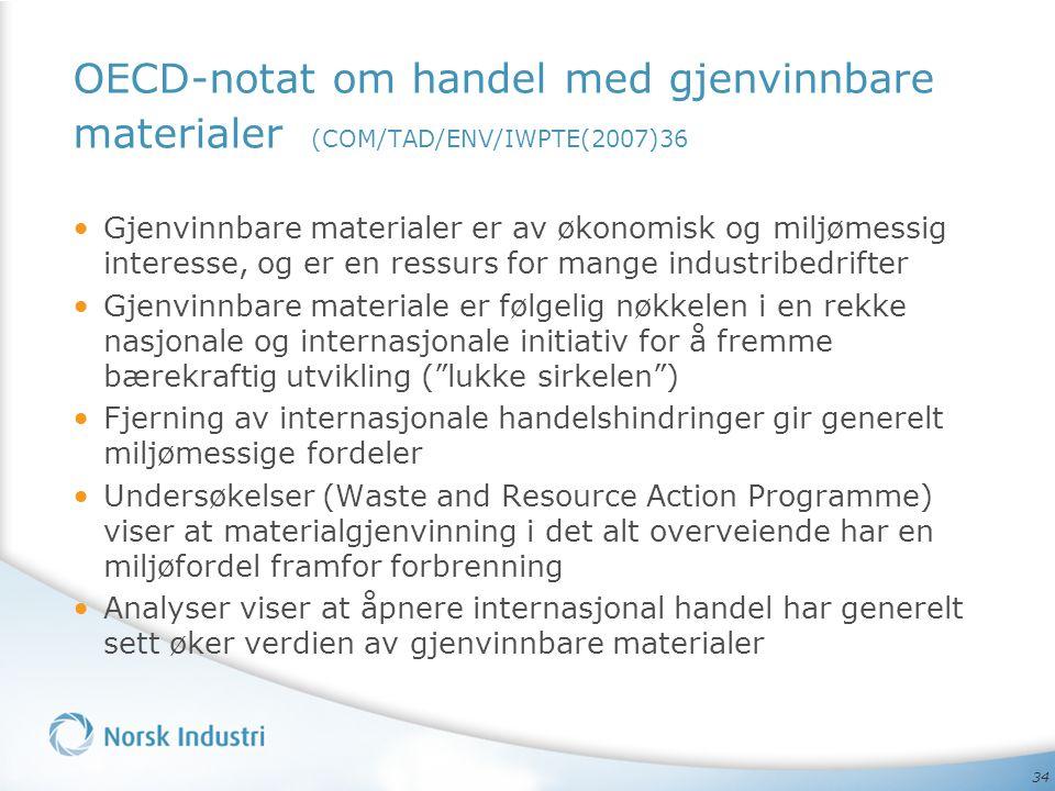 OECD-notat om handel med gjenvinnbare materialer (COM/TAD/ENV/IWPTE(2007)36