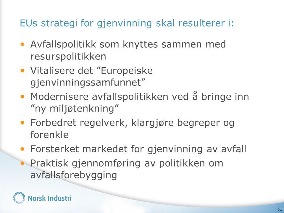 EUs strategi for gjenvinning skal resulterer i: