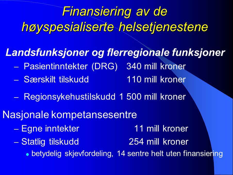 Finansiering av de høyspesialiserte helsetjenestene