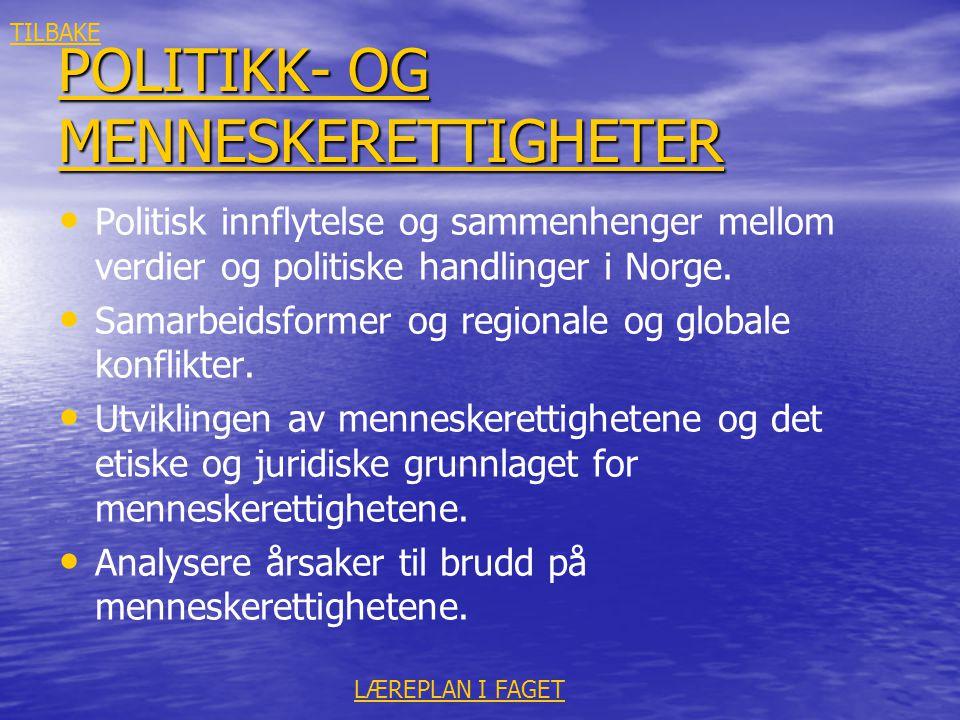 POLITIKK- OG MENNESKERETTIGHETER