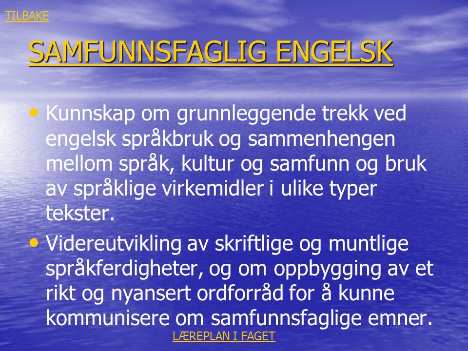 SAMFUNNSFAGLIG ENGELSK