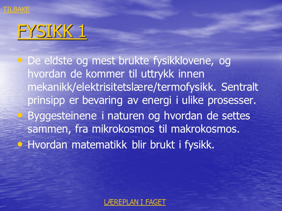 TILBAKE FYSIKK 1.