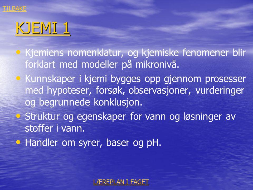 TILBAKE KJEMI 1. Kjemiens nomenklatur, og kjemiske fenomener blir forklart med modeller på mikronivå.