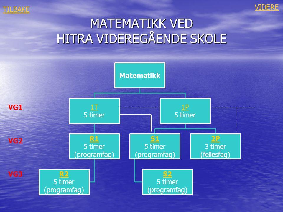 MATEMATIKK VED HITRA VIDEREGÅENDE SKOLE