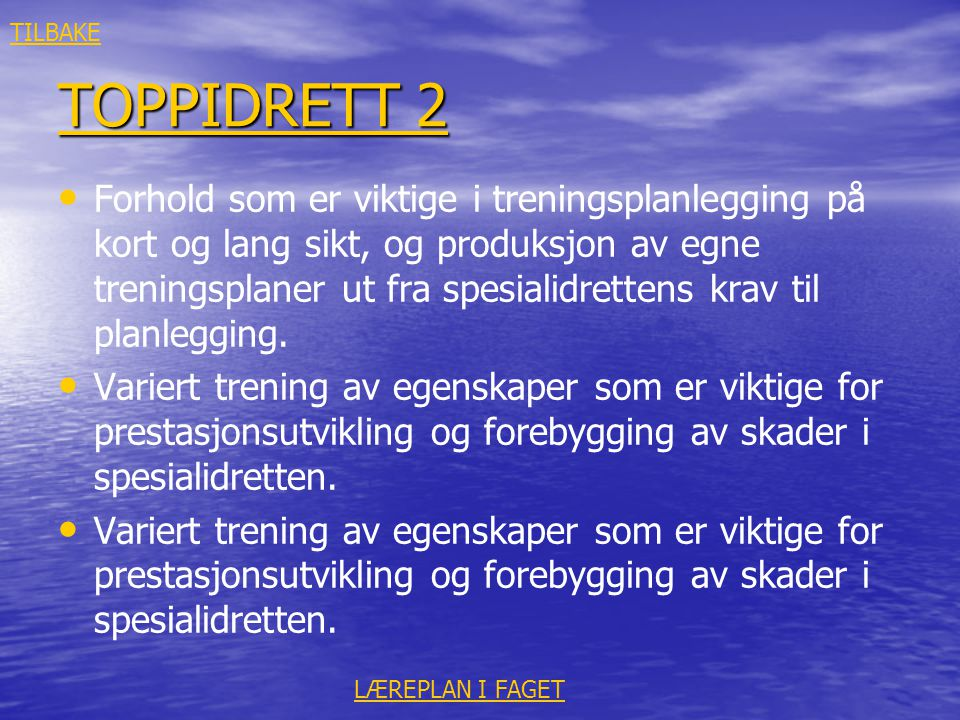 TILBAKE TOPPIDRETT 2.