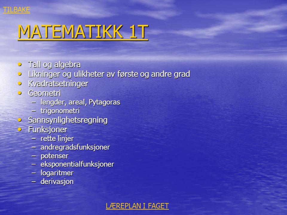 MATEMATIKK 1T Tall og algebra