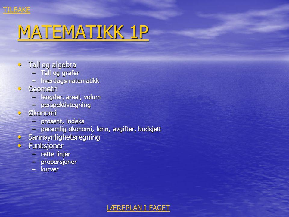 MATEMATIKK 1P TILBAKE Tall og algebra Geometri Økonomi