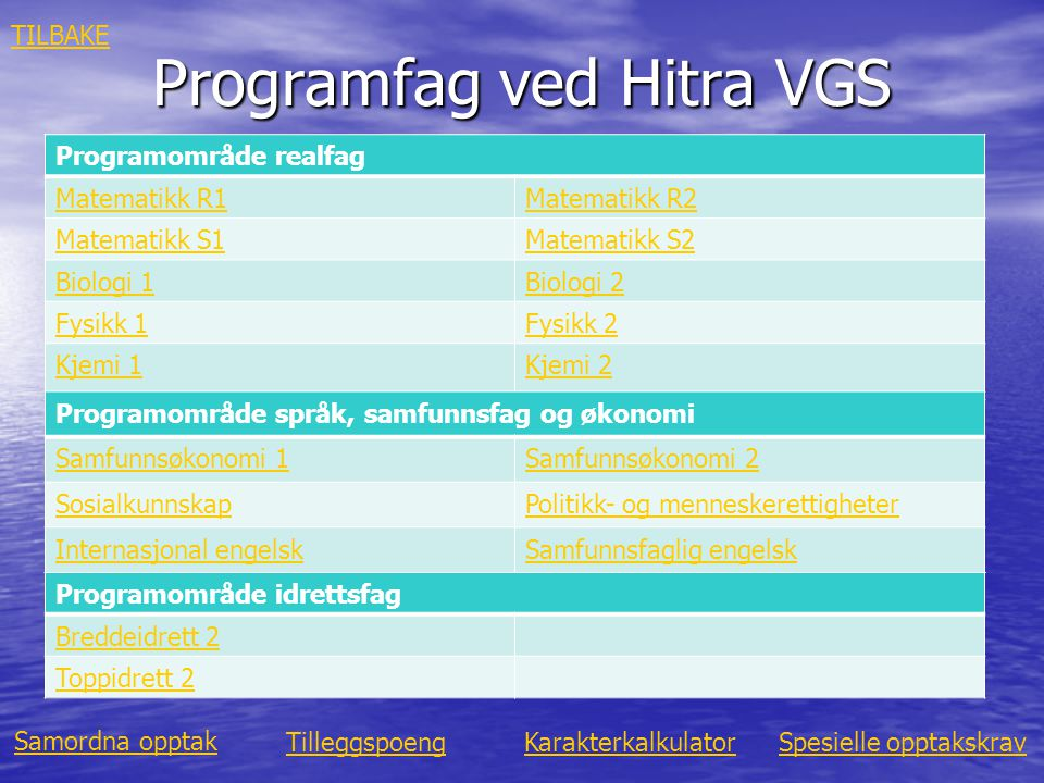 Programfag ved Hitra VGS