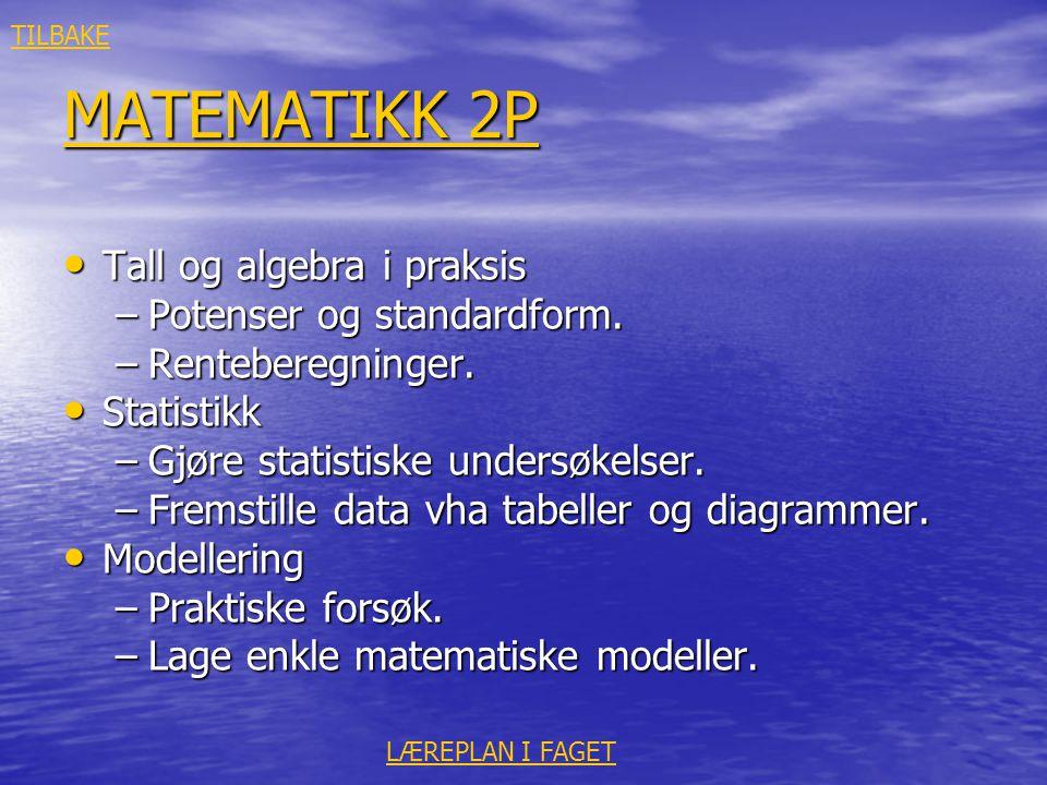 MATEMATIKK 2P Tall og algebra i praksis Potenser og standardform.