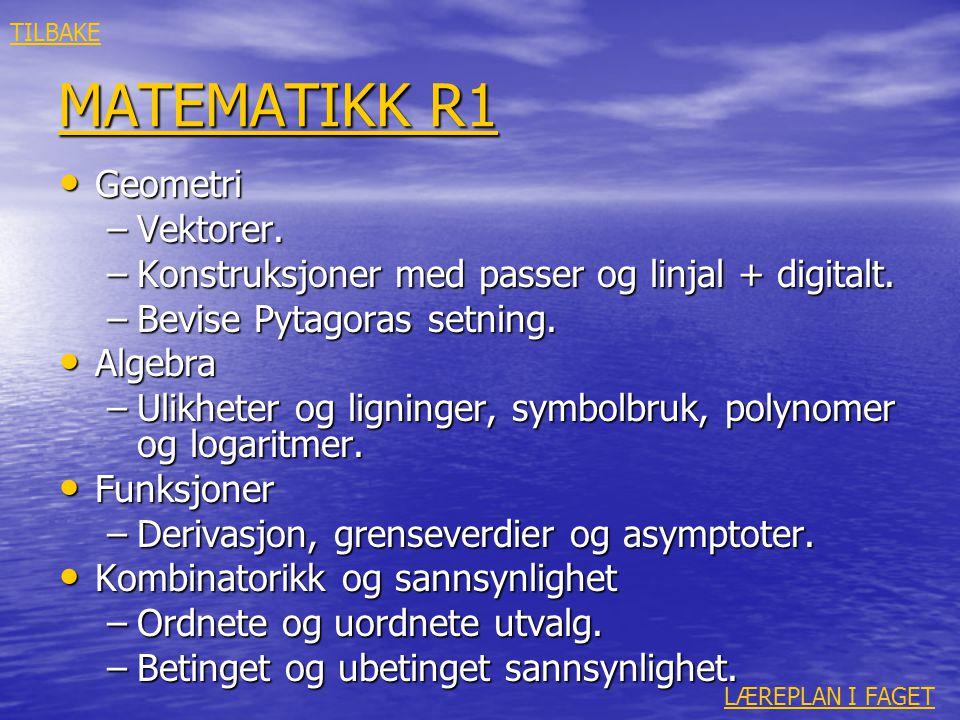 MATEMATIKK R1 Geometri Vektorer.